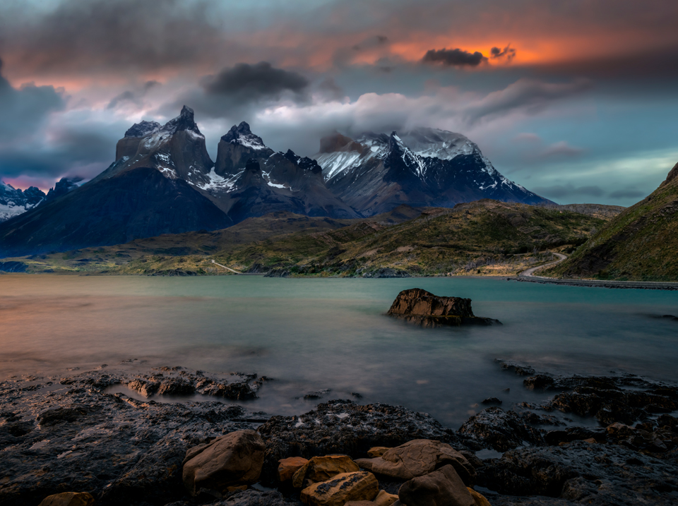 6e554f81eb Long exposure dawn shot of Patagonia s Lake Pehoé in Torres del Paine  National Park. The landscape is nearly cruel in its beauty…which is matched  by the ...