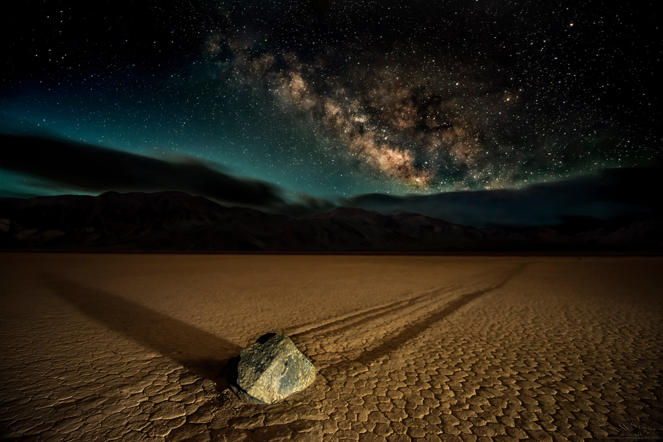 """Midnight Run"""" Alpha Centauri? Vulcan?      Nope: One of the 'sailing stones' at Death Valley's famous 'Racetrack'"""