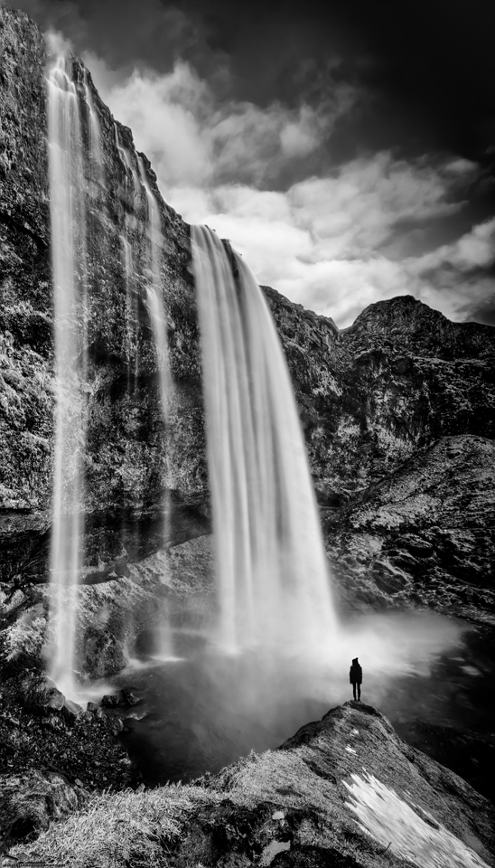 """""""Perspective"""" My effort to create a unique image of popular Seljalandsfoss.  Selajalandsfoss is a huge waterfall set in a huge naturally photogenic amphitheater in southern Iceland."""