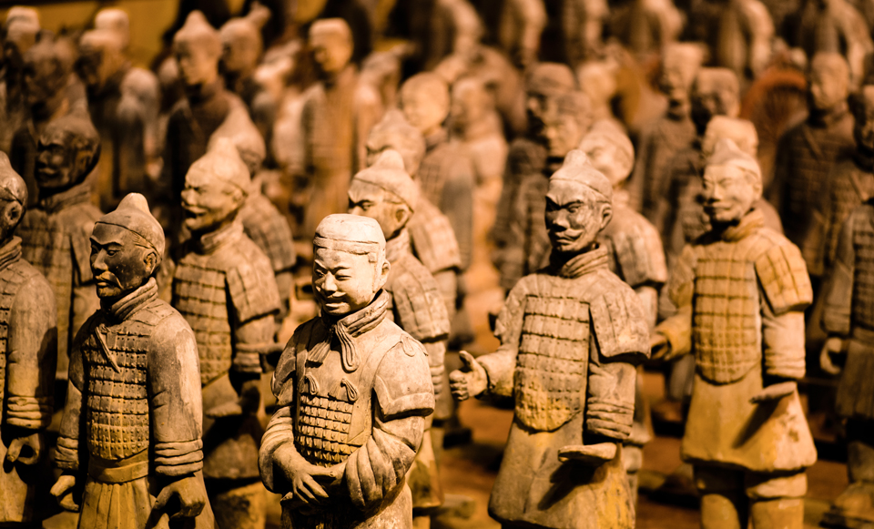 Replicas of the Terracotta Army in the Chinese Pavilion at EPCOT...you will need a tripod for this shot.