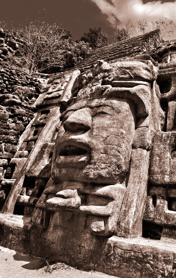 Olmec Head detail on Mask Temple at Lamanai Belize