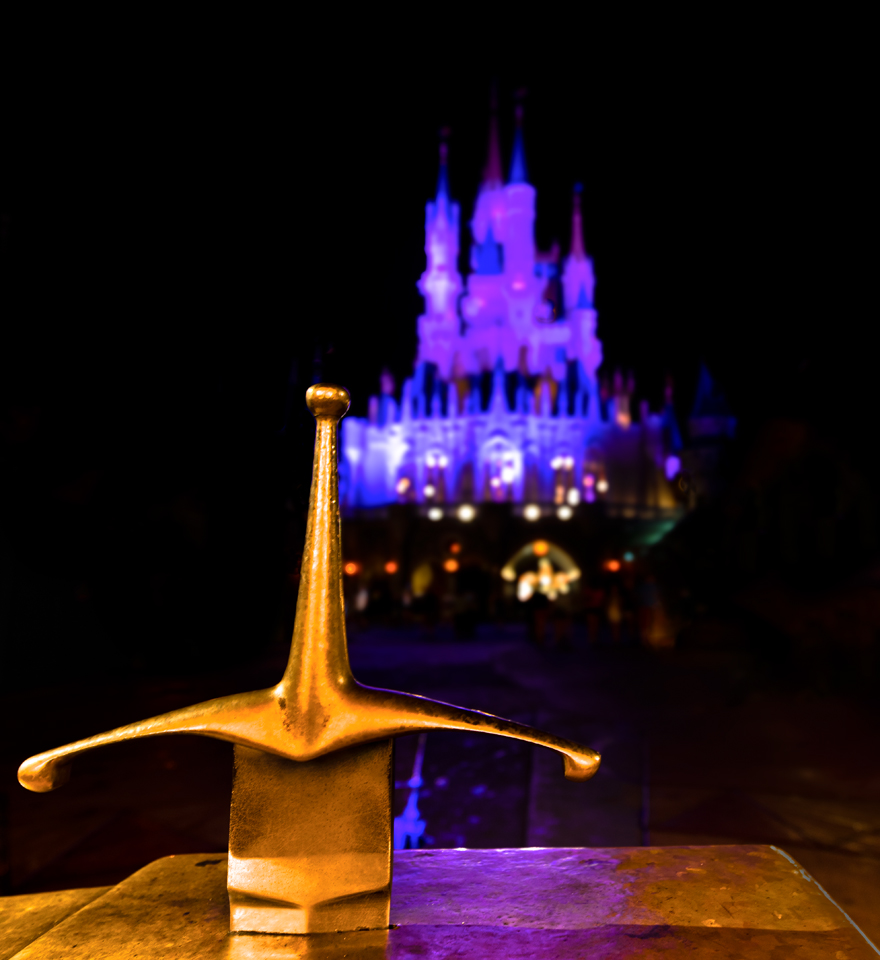 Night Photo of the Sword in the Stone at Disney's Magic Kingdom