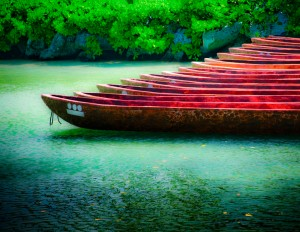 """Native"" canoes in the lagoon at Xcaret Park Mexico"