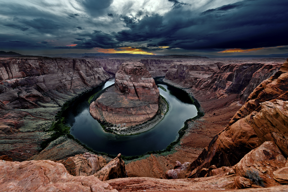 "Horseshoe Bend Sunset: One of those ""OMG"" moments. Click on this photo to see a full resolution image."