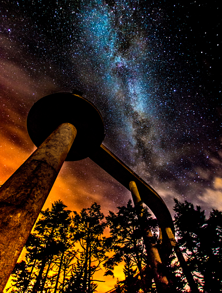 Milky way over observation tower at Clingman's Dome Smoky Mountain National Park