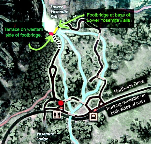 Moonbow map for Lower Yosemite Falls-