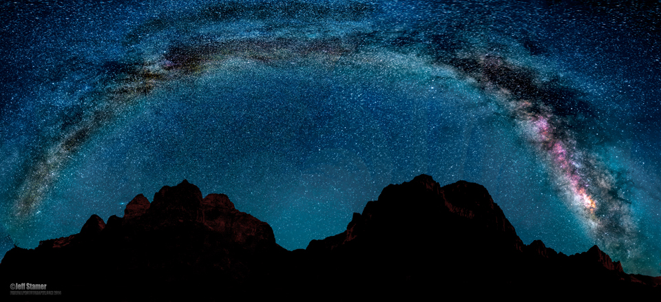 The full arc of our Milky Way...amazing seeing it with your bare eyes! Shot from the Virgin River/Watchman bridge at Zion NP