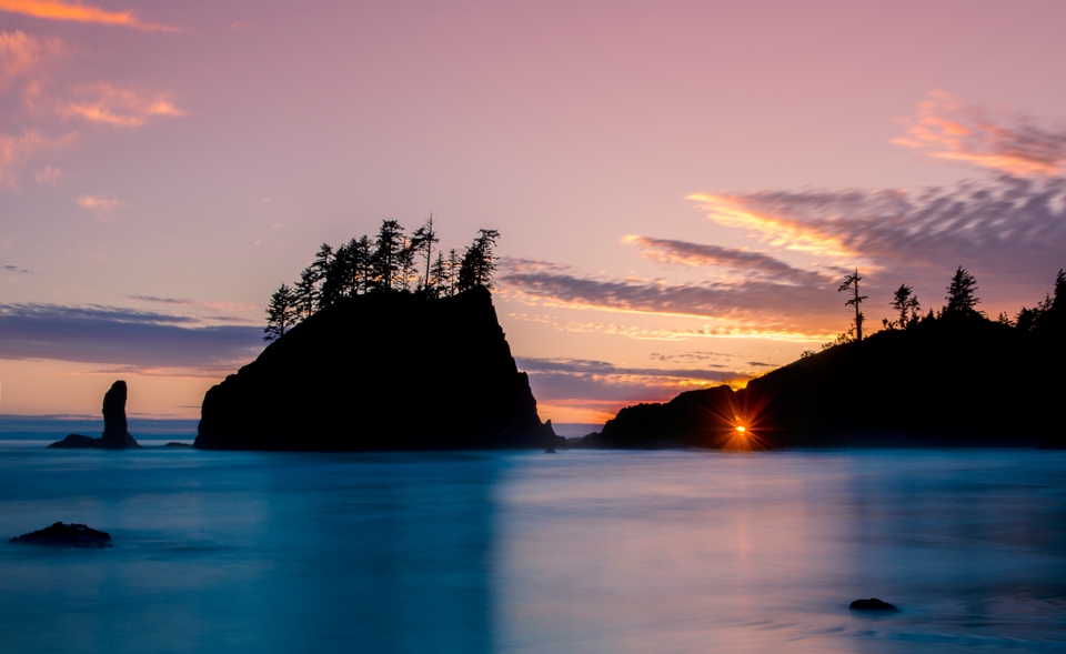 Sunset at Second Beach Olympic National Park, Washington