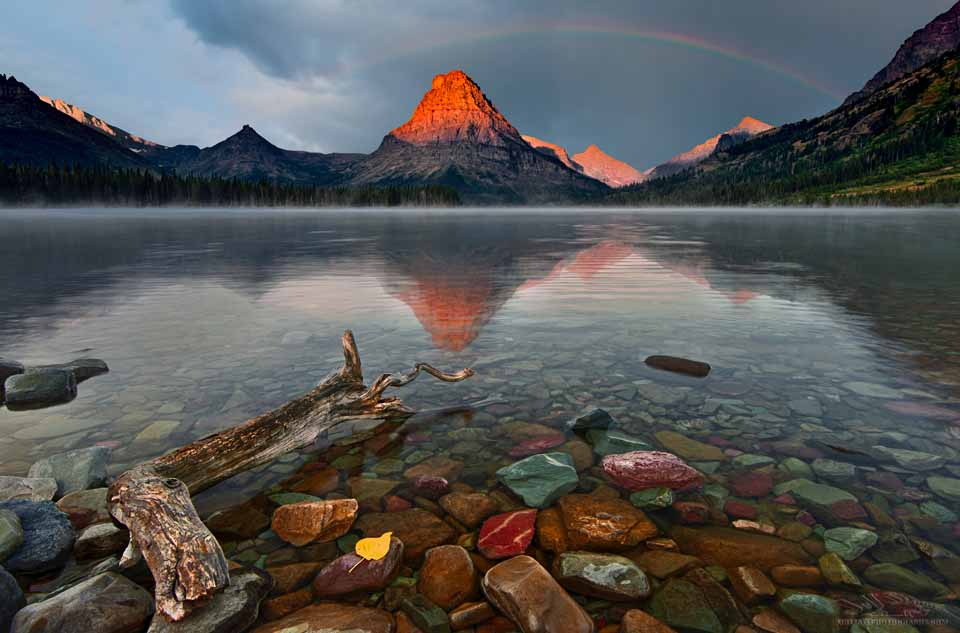 Mt. Sinopah reflected in Two Medicine Lake at Glacier National Park