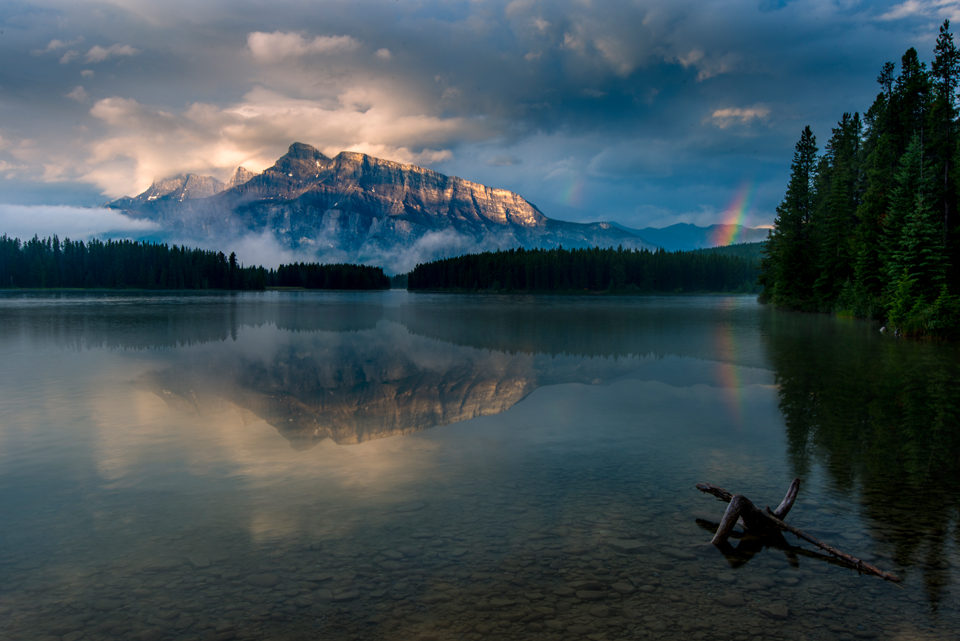 Two Jack Lake view of Mt Rundle in Banff National Park Canada