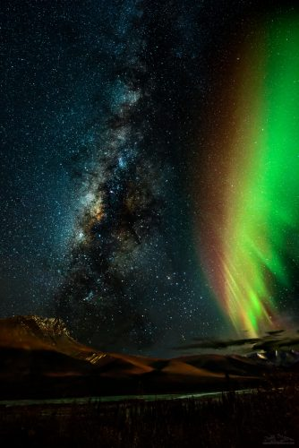 One of my favorite shots. The Milky Way AND the Aurora Borealis photographed together in the Brooks Range, Alaska