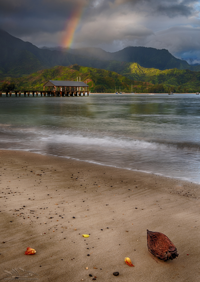 Hanalei Bay with Pier under rainbow Kauai and Big Island Photo Locations
