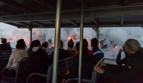 how to photograph lava from a boat in Hawaii
