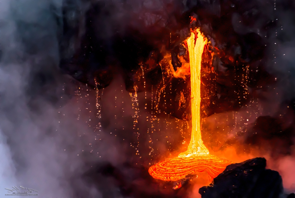 Lava flowing into the ocean on the Big Island of Hawaii