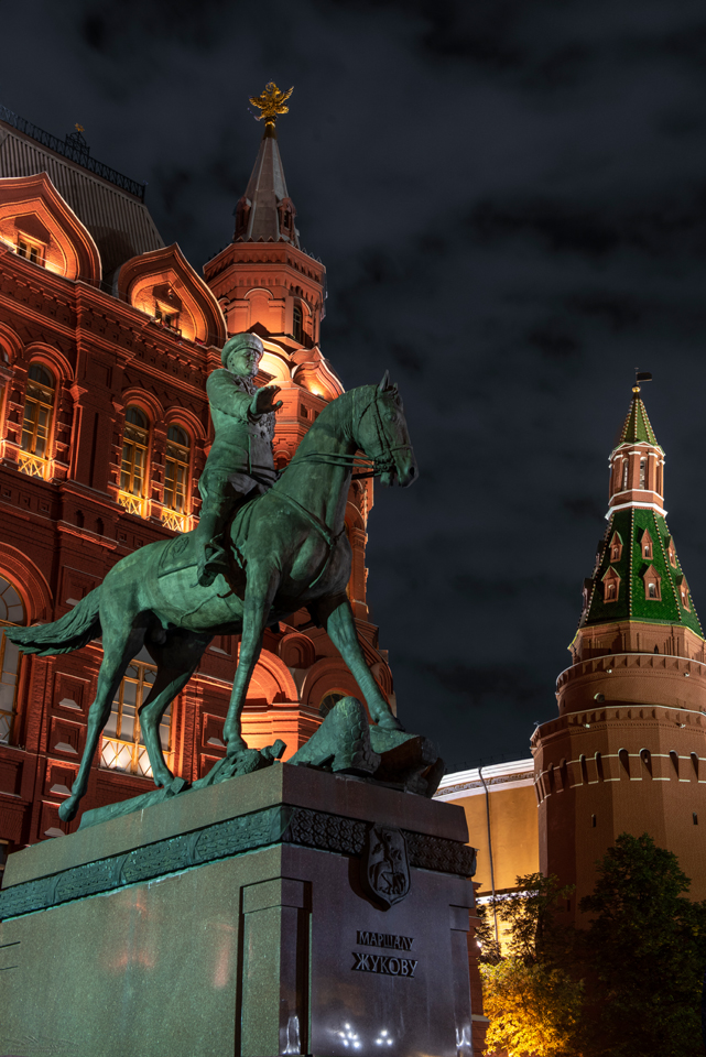 Marshall Zhukov statue in Red Square. Night Photography in Moscow and St. Petersburg