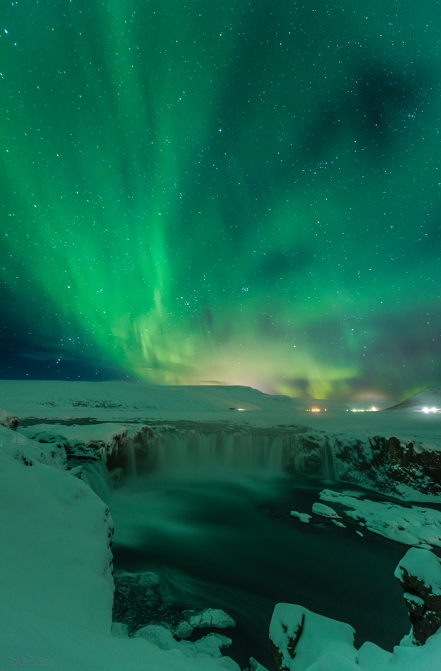 Photographing the Northern Lights in Iceland Godafoss