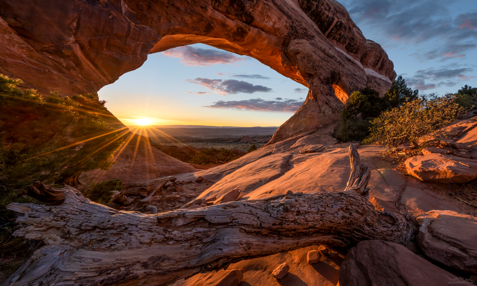 Sunrise at Partition Arch in Arches National Park near Moab Utah