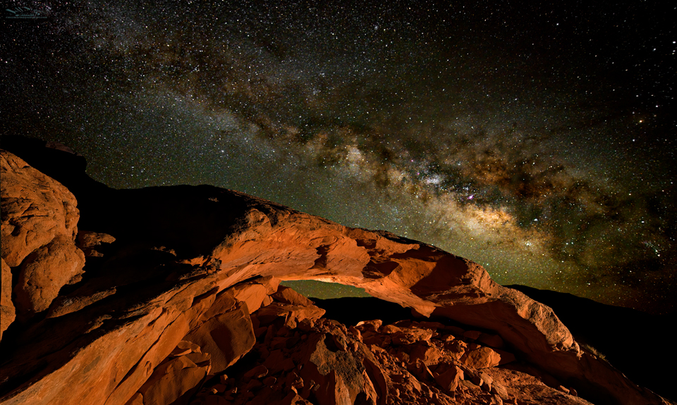 Moonrise Arch Milky Way Photography near Escalante Utah