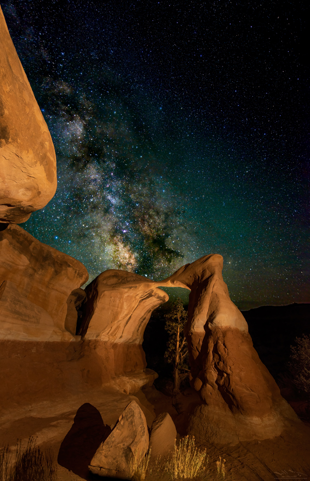 Metate Arch under the Milky Way in the Escalante Staircase National Monument Utah.