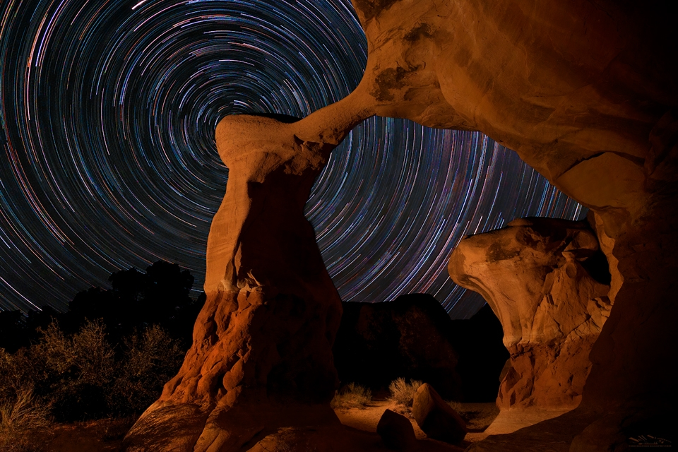 Metate Arch star trails in the Devil's Garden area of Grand Staircase-Escalante National Monument.